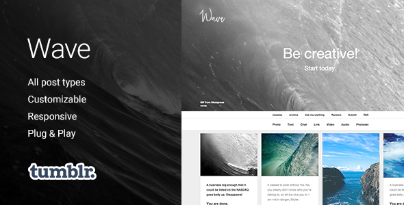 Wave | Grid-based, Responsive Portfolio Tumblr Theme