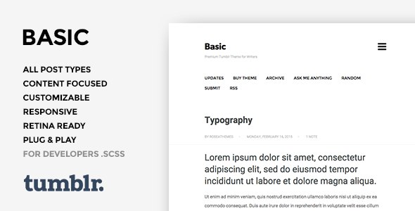 Basic 3 – One Column, Blogging Tumblr Theme