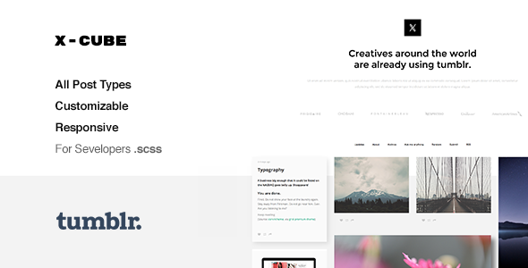 Download X-Cube Portfolio, Grid-Based Tumblr Theme nulled version