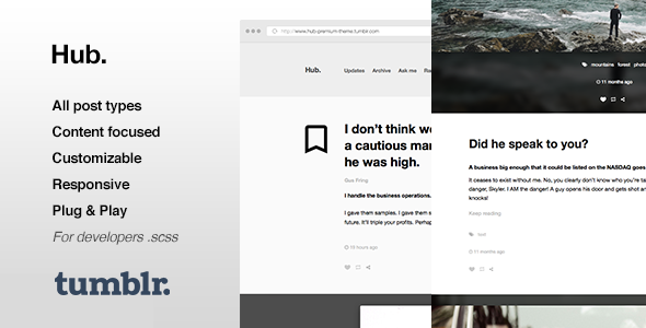 Hub | One Column, Blogging Tumblr Theme