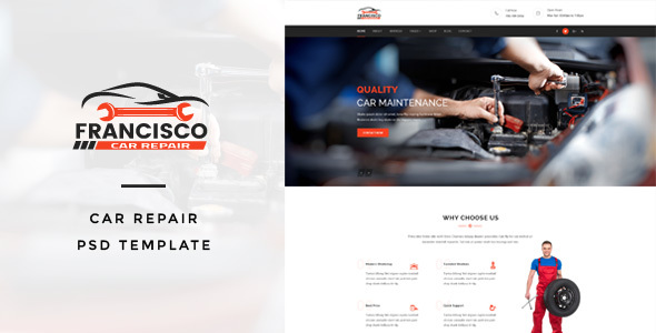 Download Free Francisco : Car Repair PSD Template
