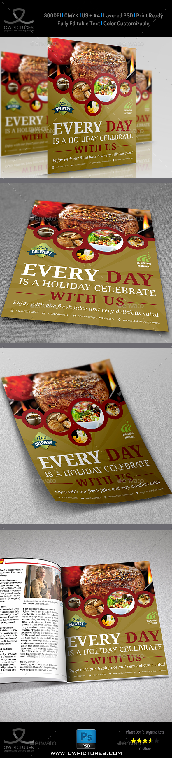 Restaurant Flyer Template Vol.4 - Restaurant Flyers
