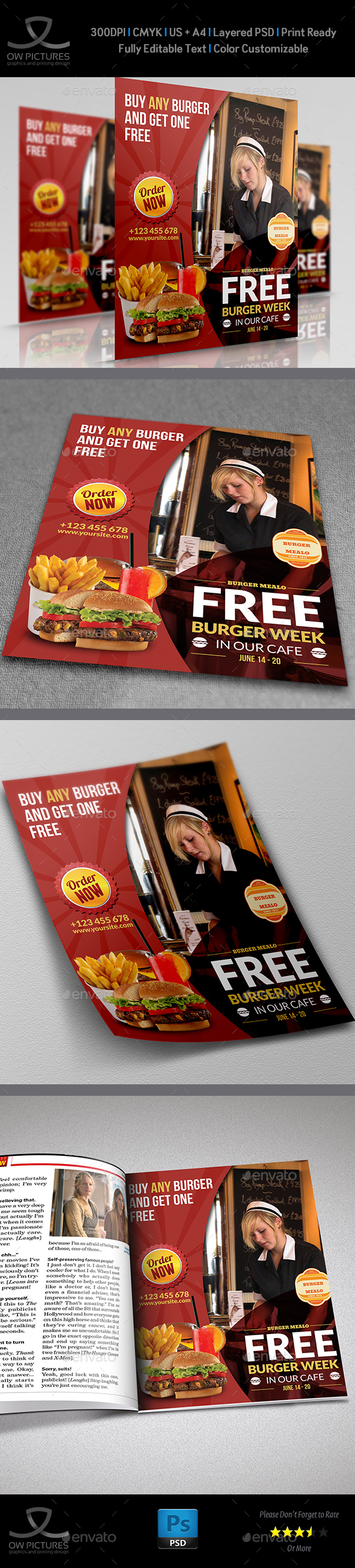 Burger Restaurant Flyer Template Vol.4 - Restaurant Flyers