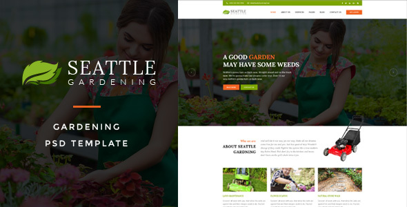 Seattle : Gardening PSD Template - Business Corporate