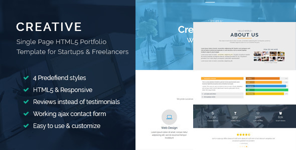 Creative - Single Page HTML5 Bootstrap Template for Startups and Freelancers - Portfolio Creative