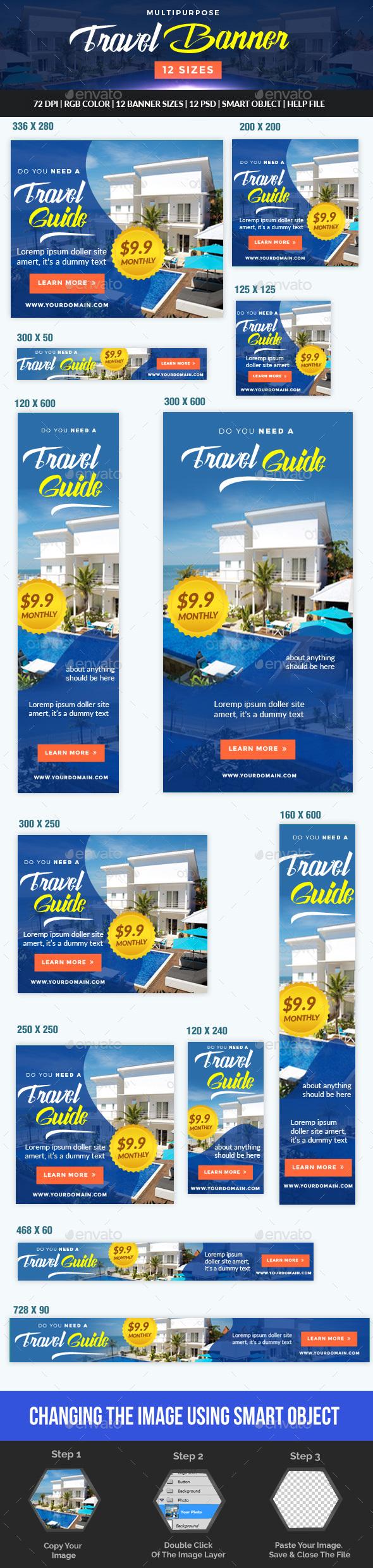 Multipurpose Travel And Hotel Banner By Desainpro