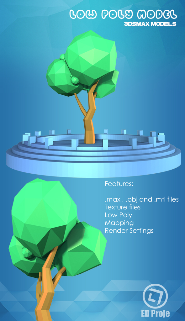 Low Poly Tree Model 01 - 3DOcean Item for Sale