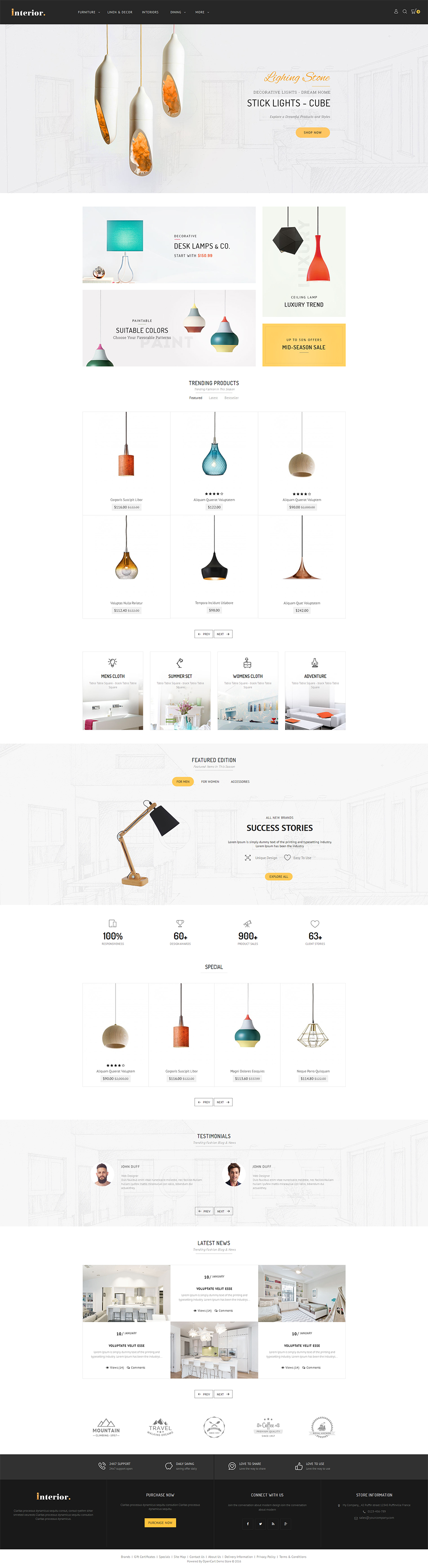 Interior Opencart Multi Purpose Responsive Theme By