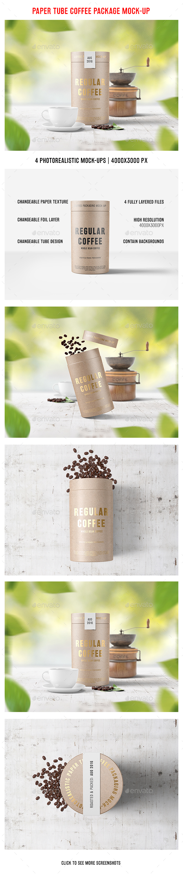 Paper Tube Coffee Package Mock-Up
