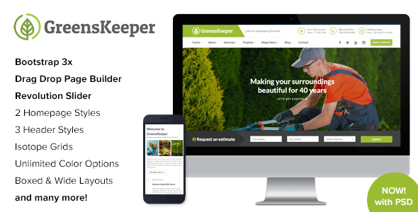 GreensKeeper - Gardening & Landscaping Responsive WordPress Theme - Business Corporate