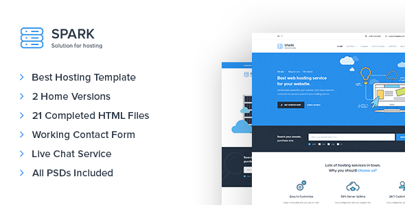 Spark – Responsive Hosting & Technology Site Template