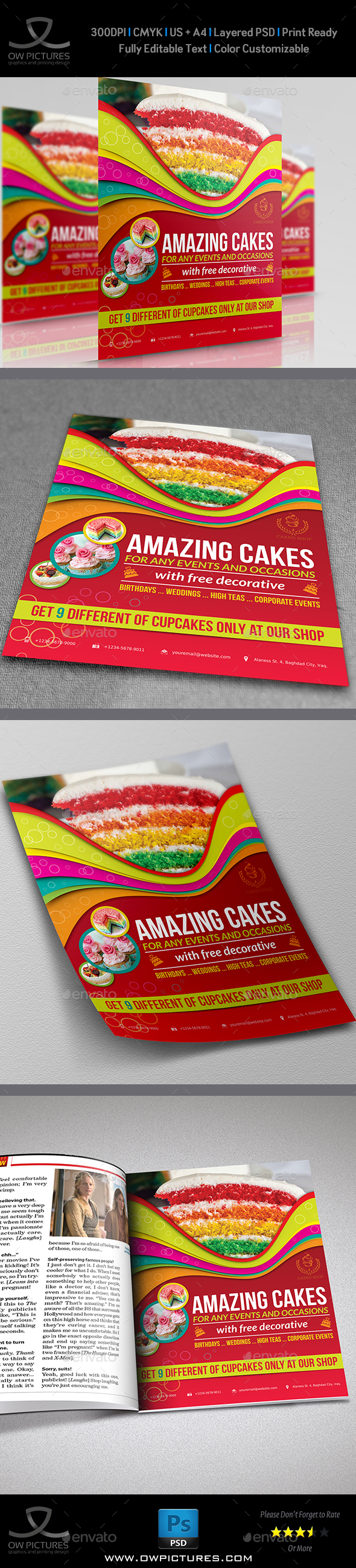 Cake Flyer Template Vol.4 - Flyers Print Templates