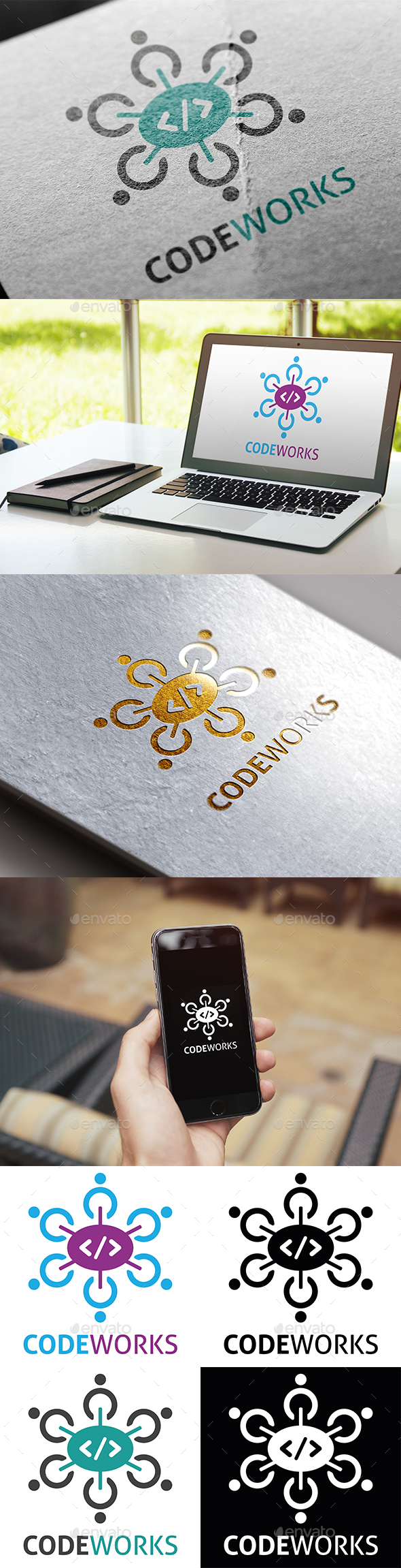 Code Works Logo - Objects Logo Templates