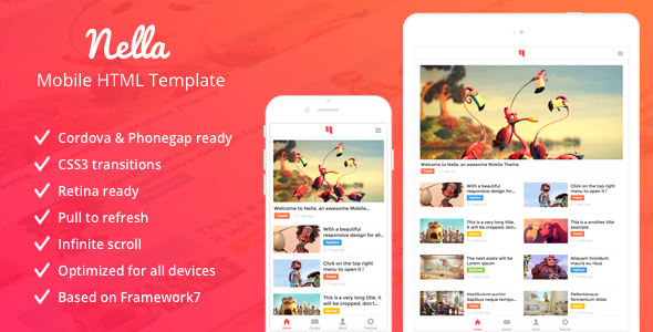 Nella - News & Magazine Mobile Template - Mobile Site Templates