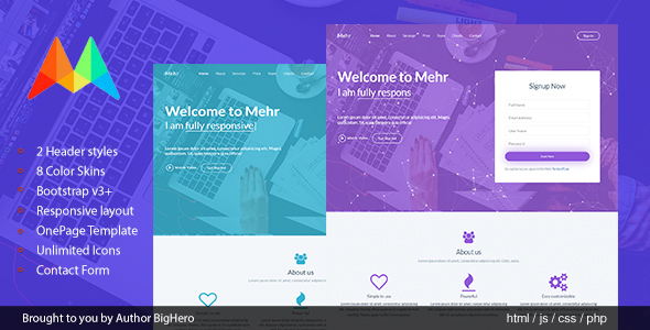 Mehr - Responsive HTML5 Startup Landing Template - Marketing Corporate