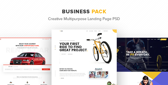 Download Free Business Pack – Creative Multipurpose Landing Page PSD