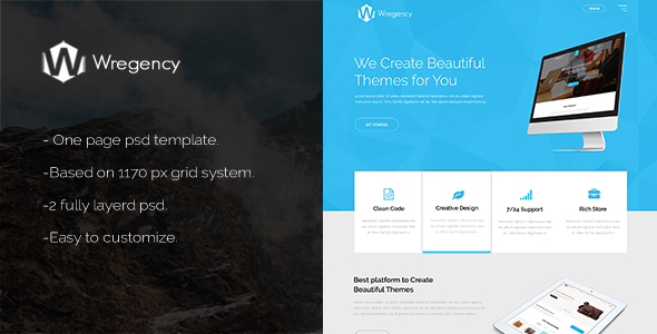 Wregency Multipurpose One Page Psd Template