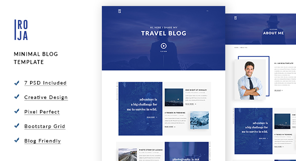 ROJA - Minimal Wordpress Blog Template - Miscellaneous PSD Templates