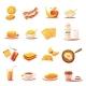 Classic Breakfast Elements Retro Icons Set