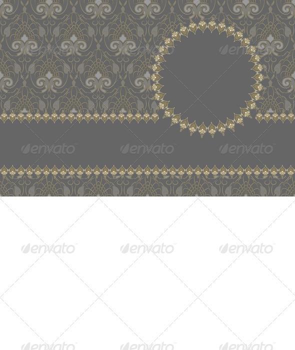 Vector Vintage Card Design, Gold Pattern - Patterns Decorative