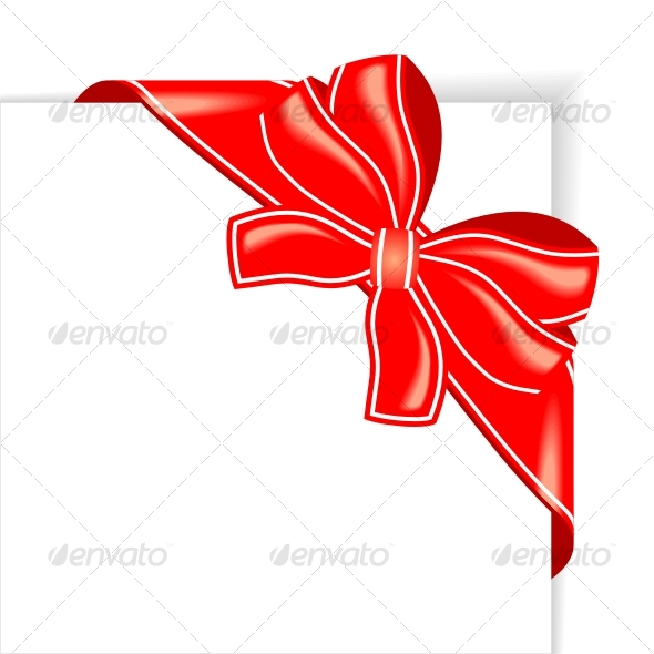Page with red ribbon and bow corner - Decorative Symbols Decorative