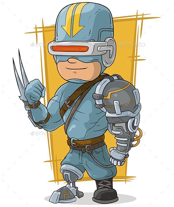 Cartoon Cool Combat Cyborg Superhero