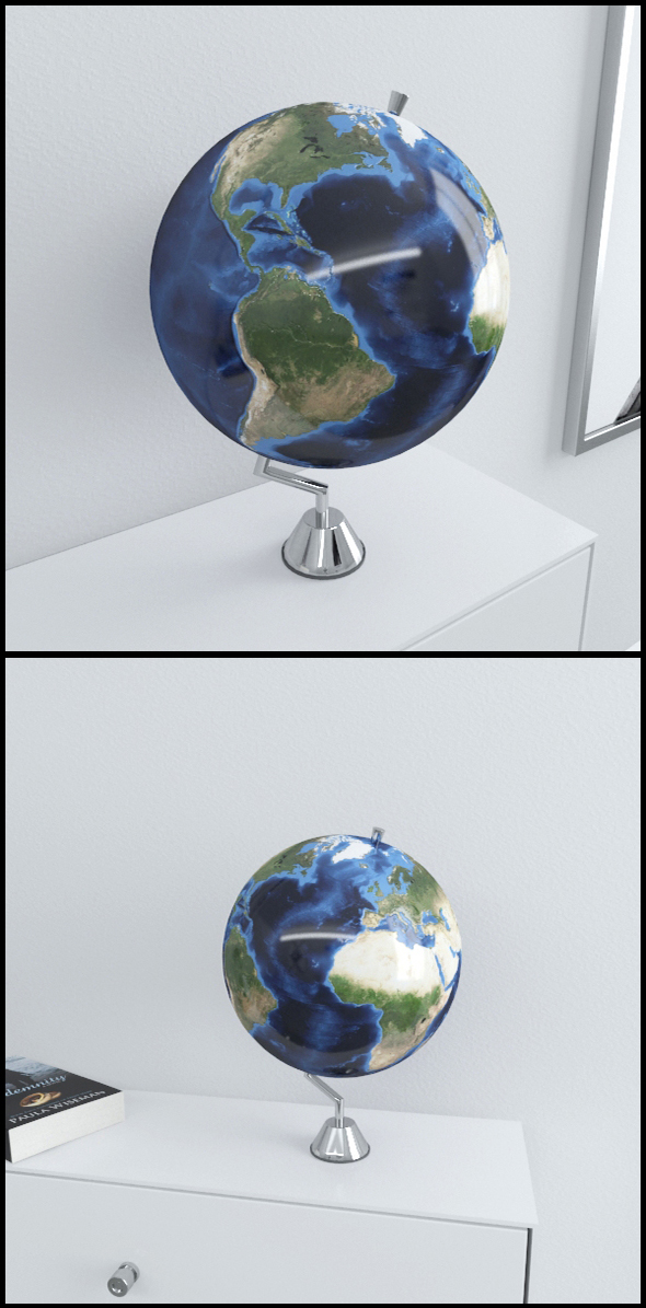 Earth globe on chrome stand - 3DOcean Item for Sale