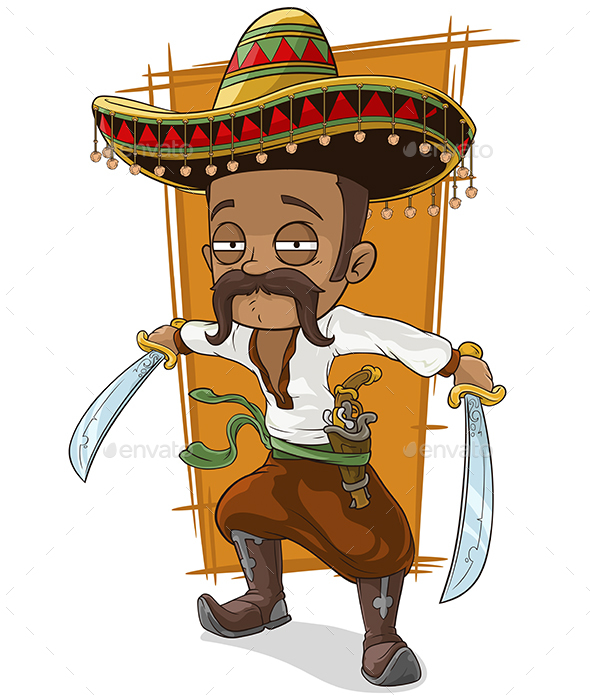 cartoon funny mexican bandit with pistol by gbart