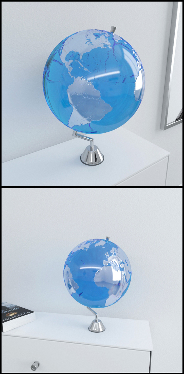 Clear blue Earth globe on chrome stand - 3DOcean Item for Sale
