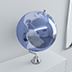 Metallic blue Earth globe on chrome stand - 3DOcean Item for Sale