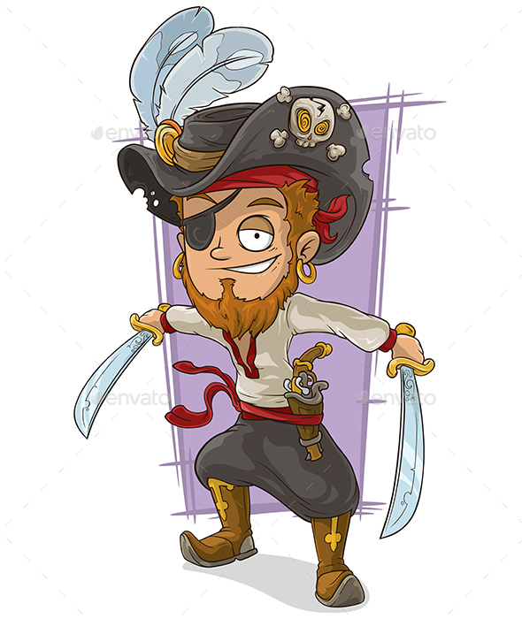 Cartoon Pirate with Swords and Eye Patch - People Characters