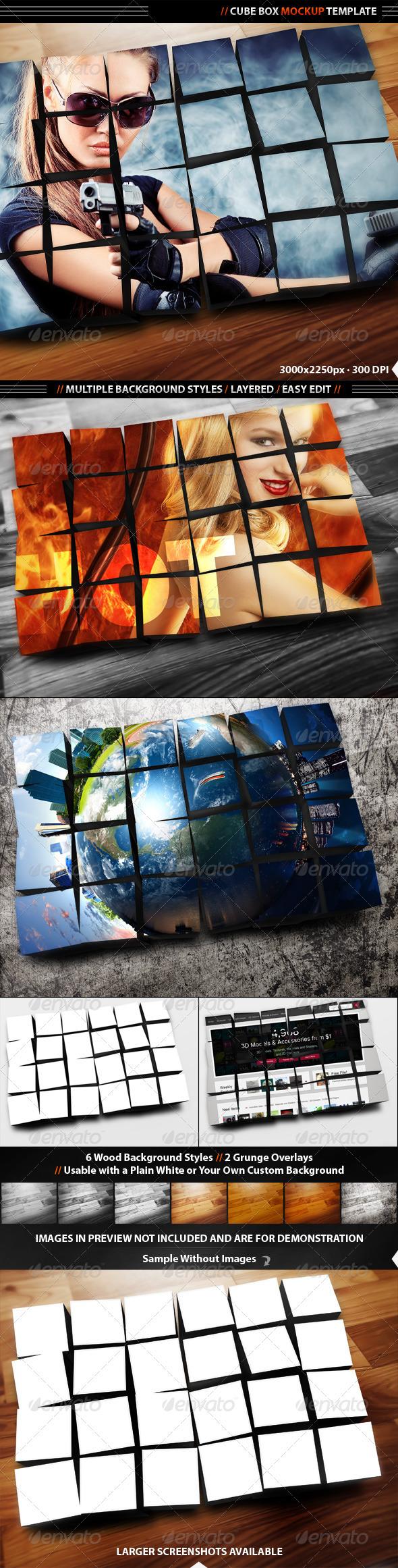 Cube Box Display Mockup - Miscellaneous Displays