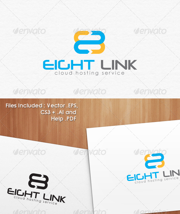 8 Eight Cloud Hosting Logo Template - Numbers Logo Templates