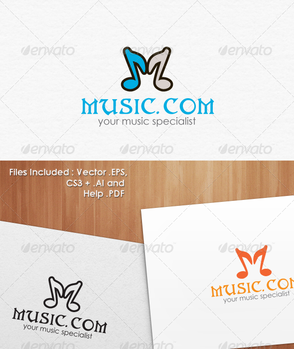 Music Dot Com Logo Template - Vector Abstract