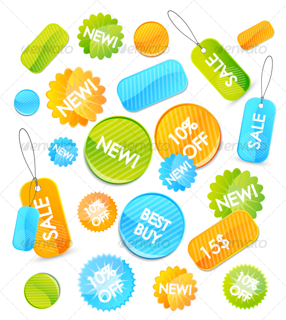 Colourful price tags - Decorative Symbols Decorative