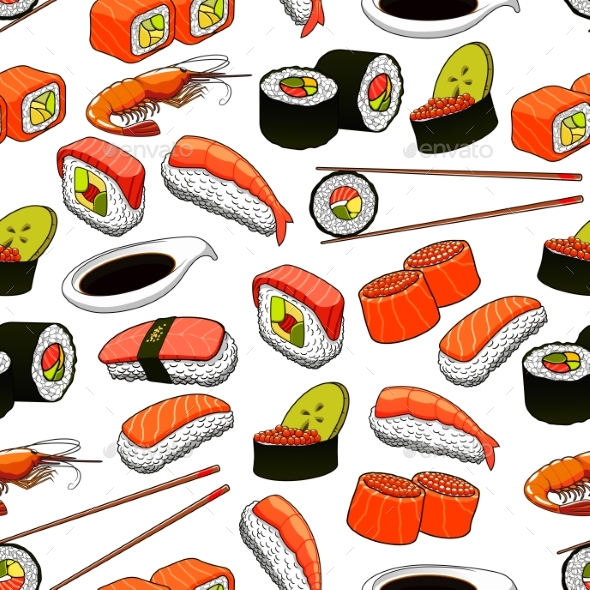 japanese food seamless pattern background by