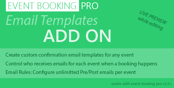Event Booking Pro: Email Templates Addon - CodeCanyon Item for Sale