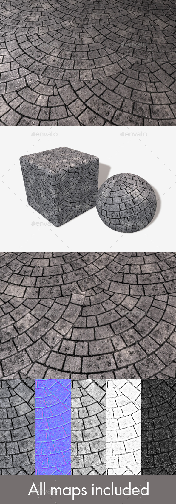 Circular Grey Brick Paving Seamless Texture - 3DOcean Item for Sale