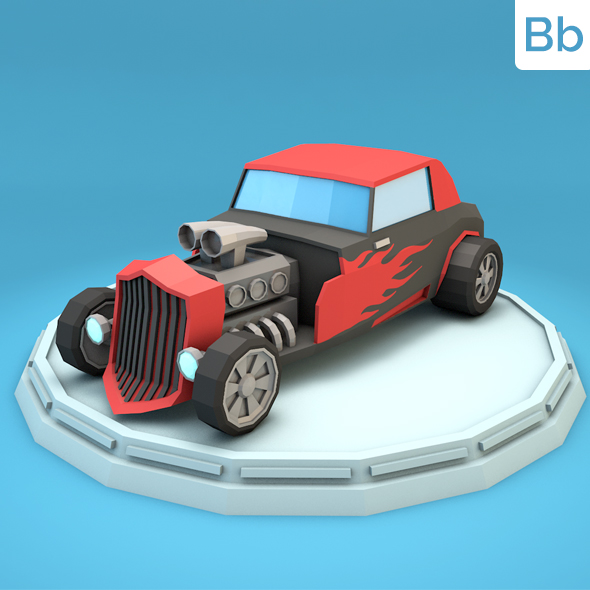 Low Poly Hot Rod Car - 3DOcean Item for Sale