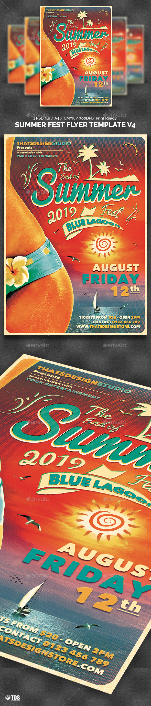 Summer Fest Flyer Template V4 - Clubs & Parties Events