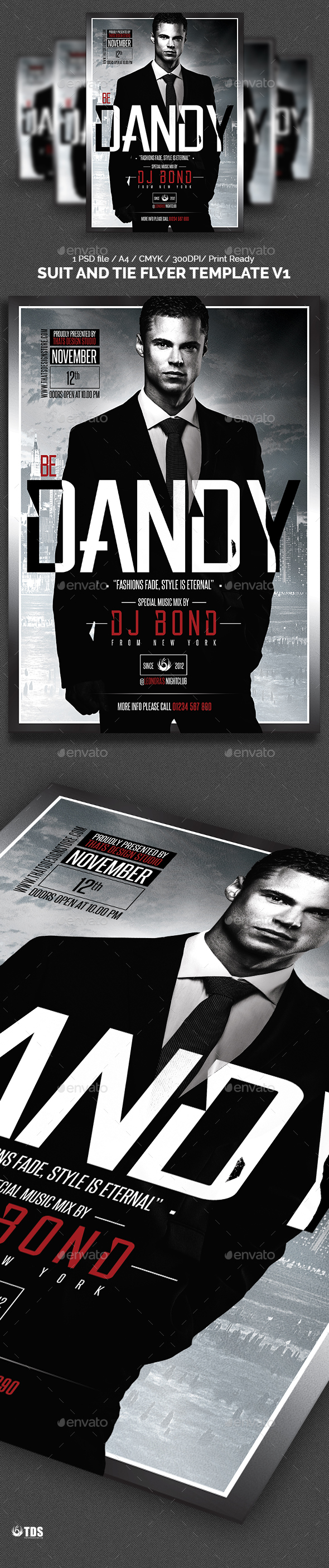 Suit and Tie Flyer Template V1 - Clubs & Parties Events