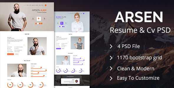 ARSEN - CV/RESUME - PSD Template
