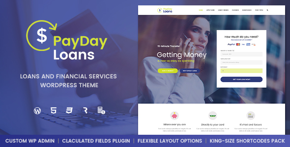 Payday Loans - Banking,  Loan Business & Finance WordPress Theme