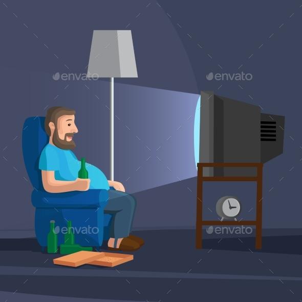 cartoon man watching tv by ssstocker