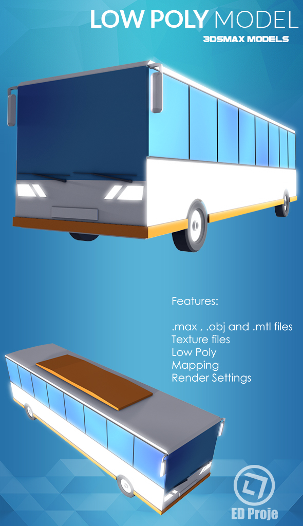 Low Poly Model 07 Car Bus - 3DOcean Item for Sale