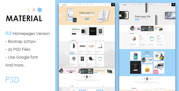 Material - Multi-Purpose eCommerce PSD - Retail PSD Templates
