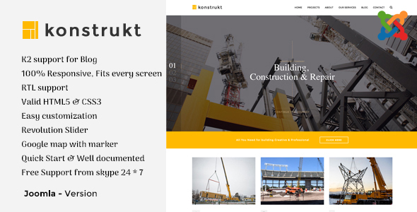 Konstrukt – Construction & Business Joomla Template