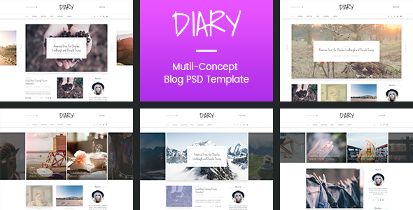 Diary | Personal Blog PSD Template
