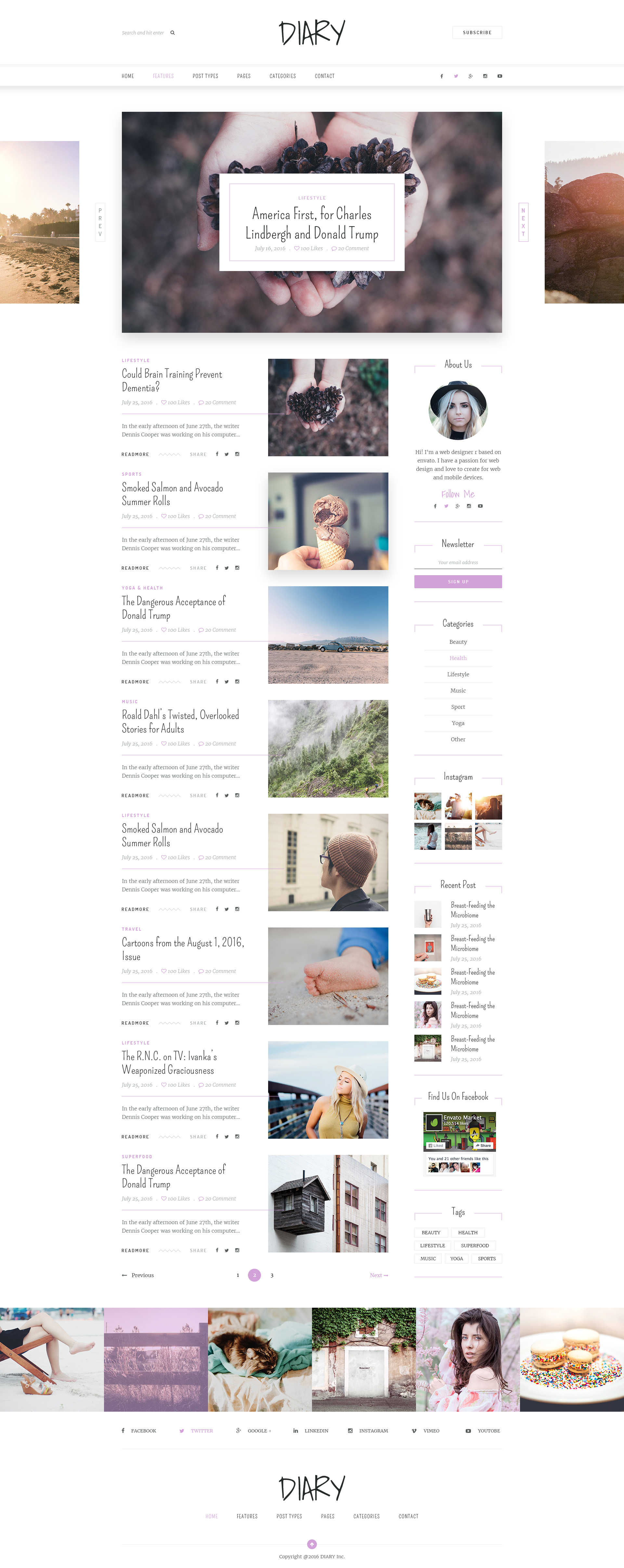 Diary | Personal Blog PSD Template by Leonard_Design | ThemeForest