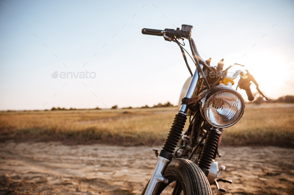 Close-up view on retro motorcycle headlights - Stock Photo - Images